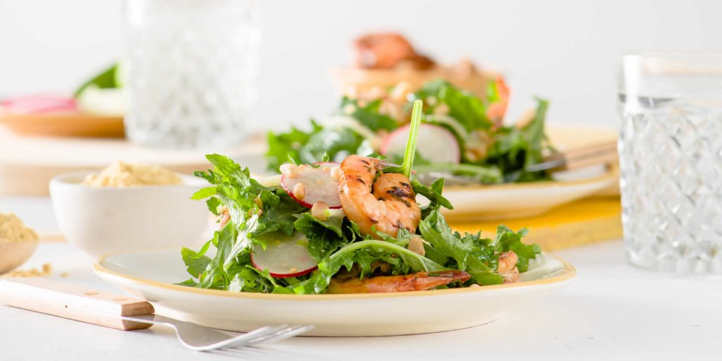Grilled Mustard-Soy Marinated Prawns with Apple & Radish Salad and Miso-Mustard Vinaigrette