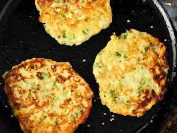 Mashed Potato Cabbage and Mustard Pancakes in fry pan