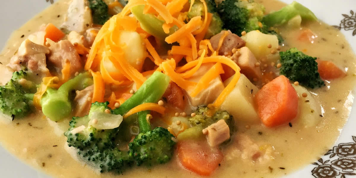 Creamy Broccoli Cheddar and Mustard Chicken Chowder feature