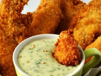 Crispy Chicken Strips With Mellow Dill Mustard Dipping Sauce