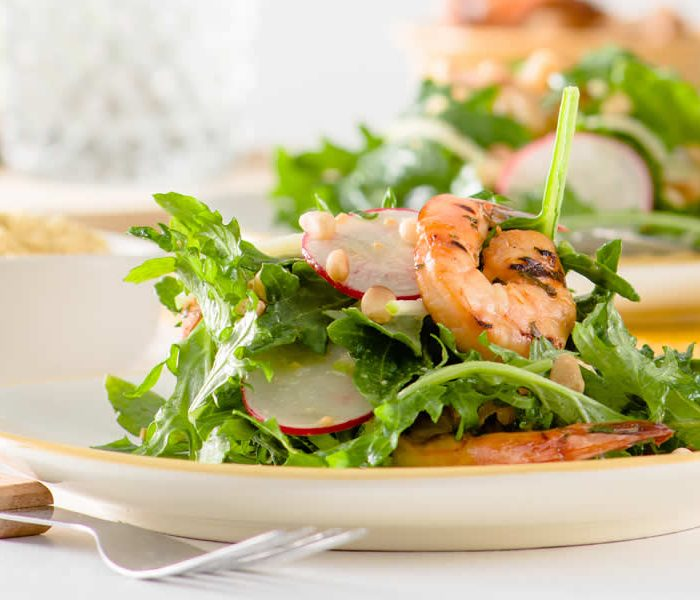 Grilled Mustard-Soy Marinated Prawns With Apple & Radish Salad In A Miso-Mustard Vinaigrette