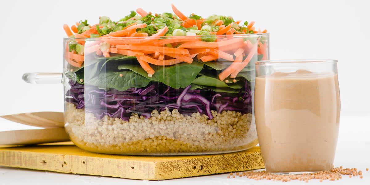 Layered Lettuce Wrap Salad With Peanut Dijon Dressing