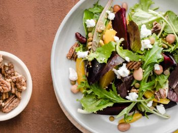 Lentil and Bean Salad with Roasted Beets, Candied Pecans, Orange and Chevre Citrus Mustard Vinaigrette