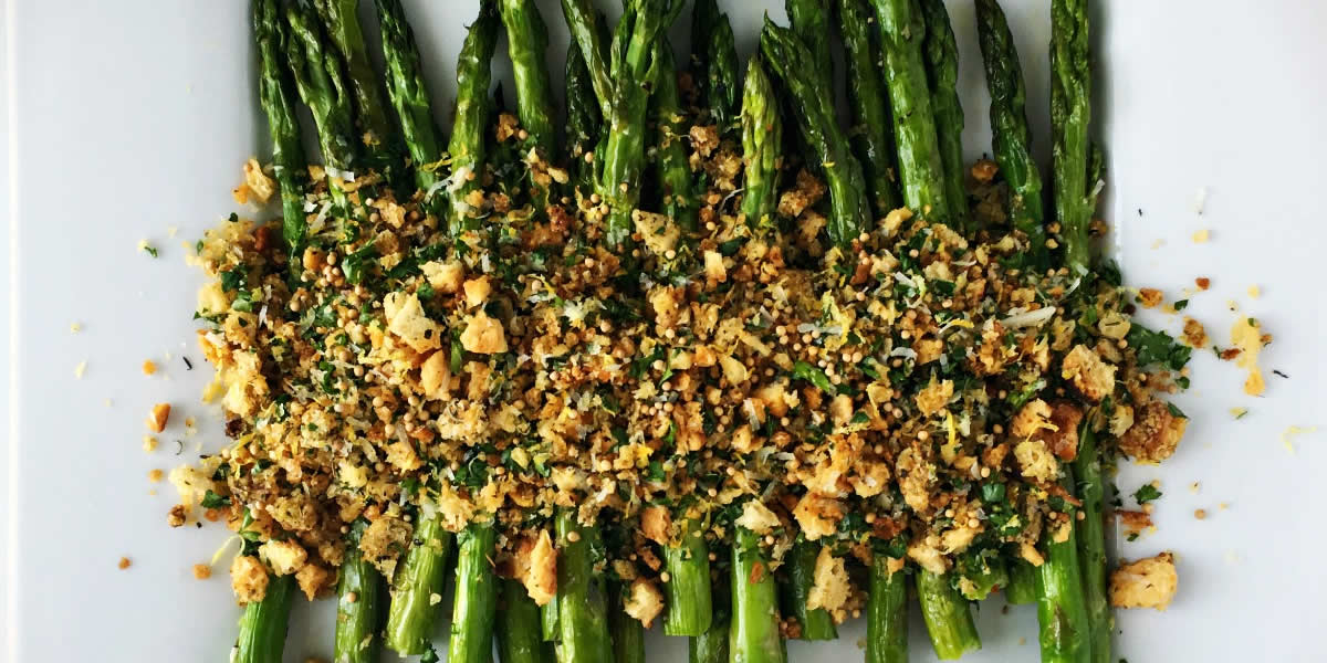 Mustard Roasted Asparagus With Breadcrumbs And Herbs
