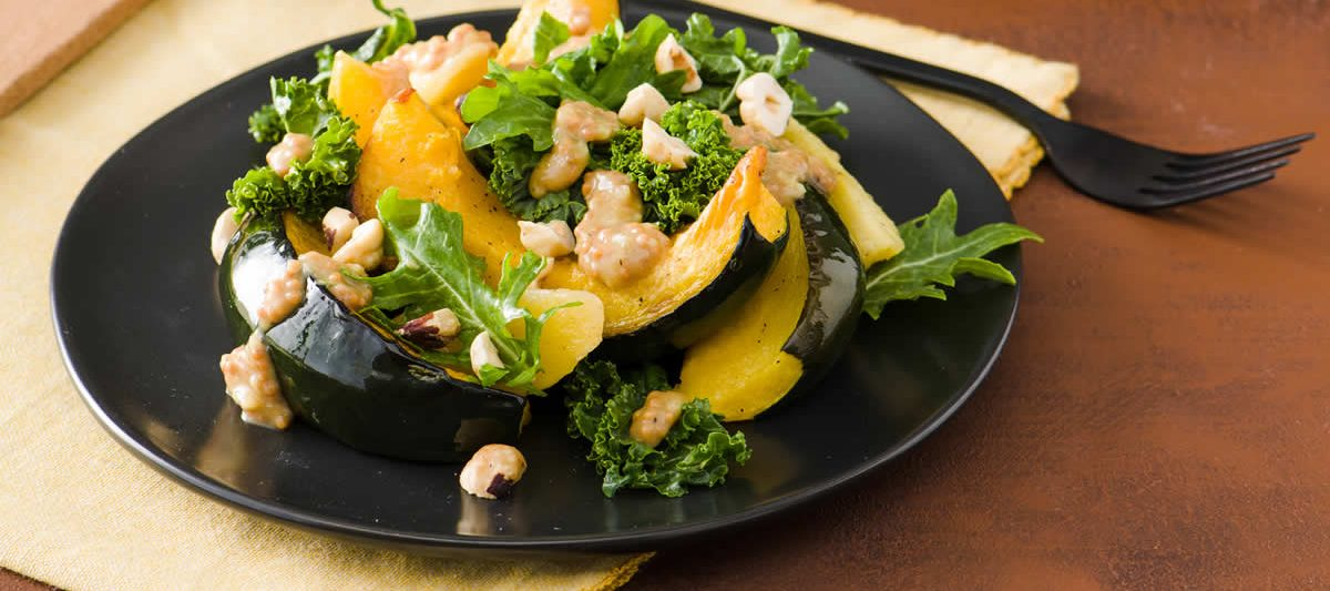 Roasted Squash, Apples & Kale With Warm Mustard Vinaigrette