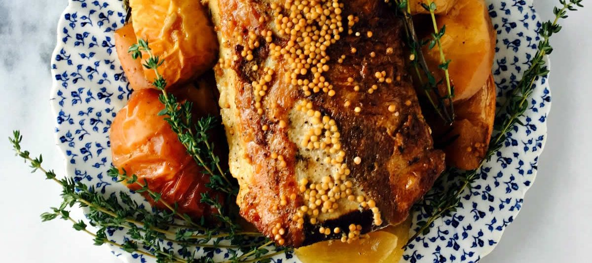 Savoury Slow Cooker Pork Roast With Mustard and Apples