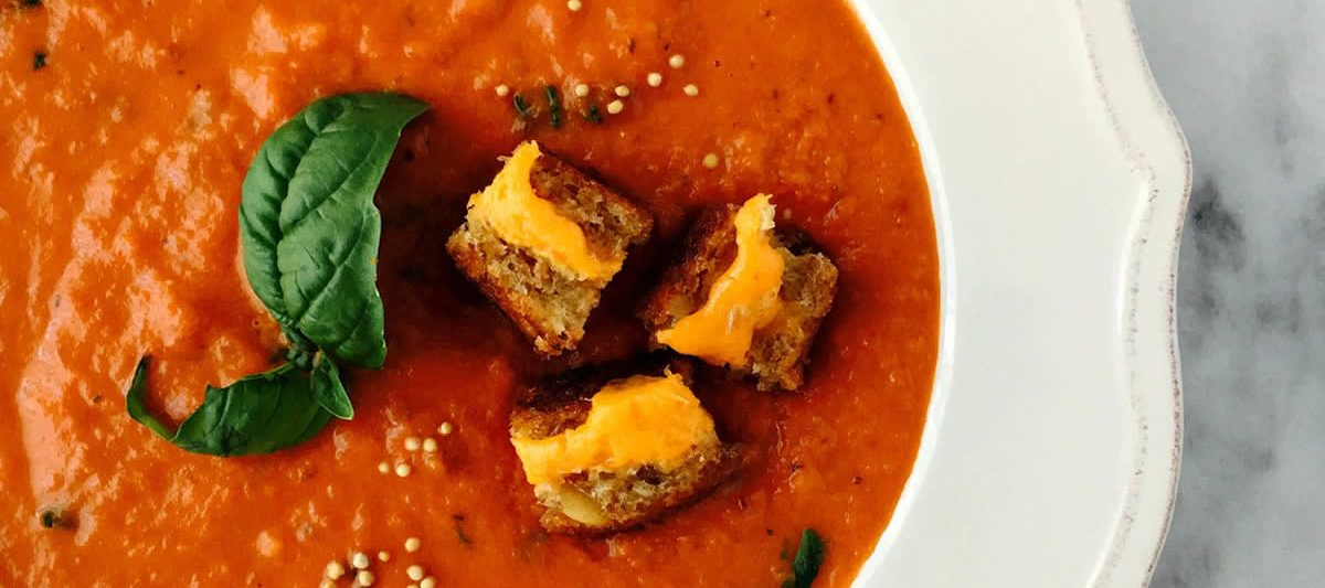 Simple Tomato Soup With Grilled Cheese and Mustard Croutons
