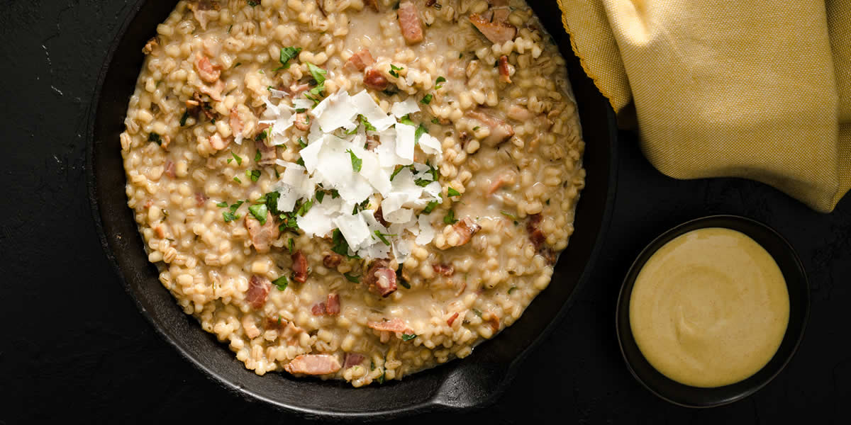 Toasted Barley & Mustard Risotto With Pale Ale & Bacon Nuggets