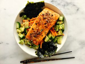 Teriyaki-Glazed Steelhead Trout, Cucumber, Avocado & Mustard Rice Bowls