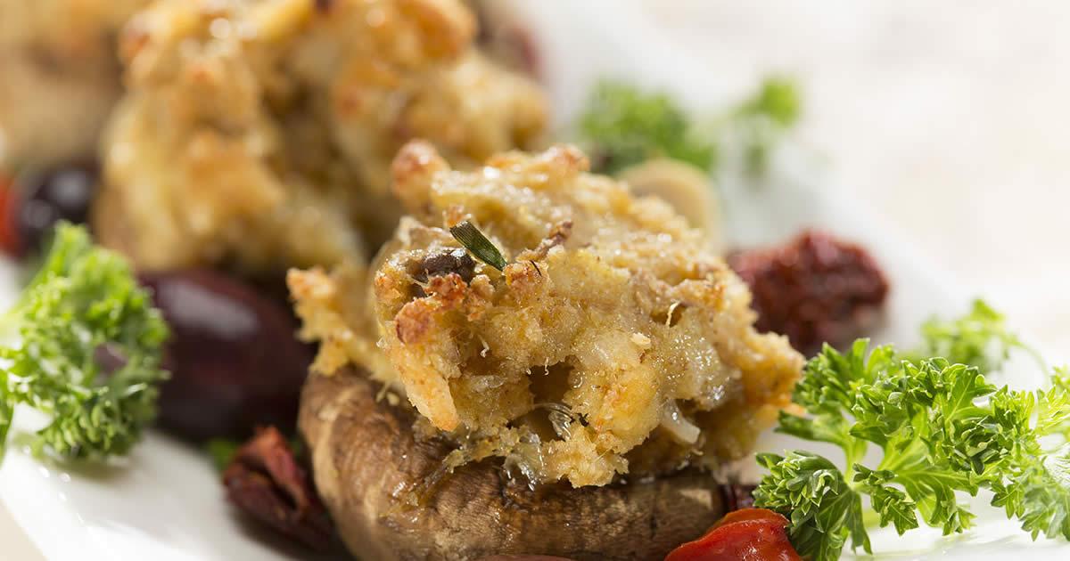 Mustard Seafood Stuffed Mushroom Caps