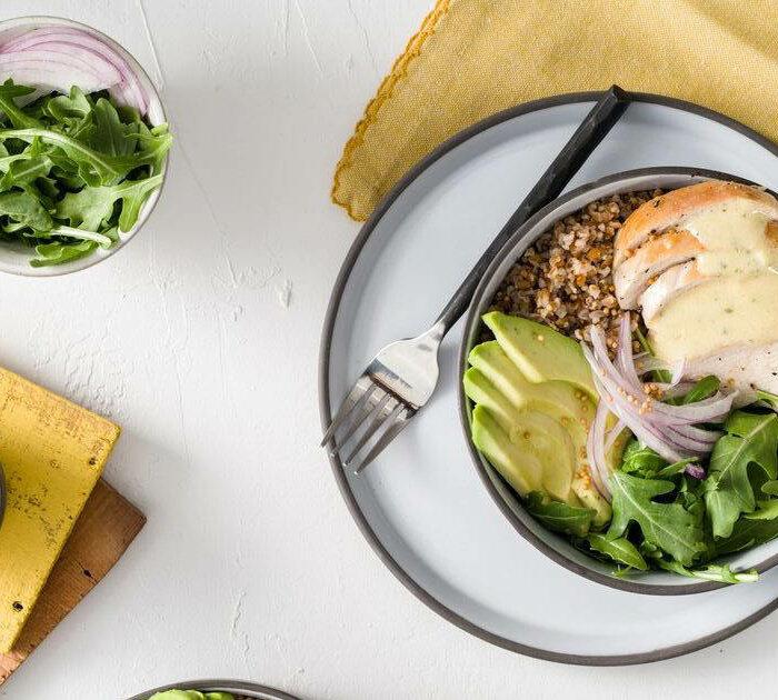Bulgur Mustard Seed Grain Bowl with Chicken