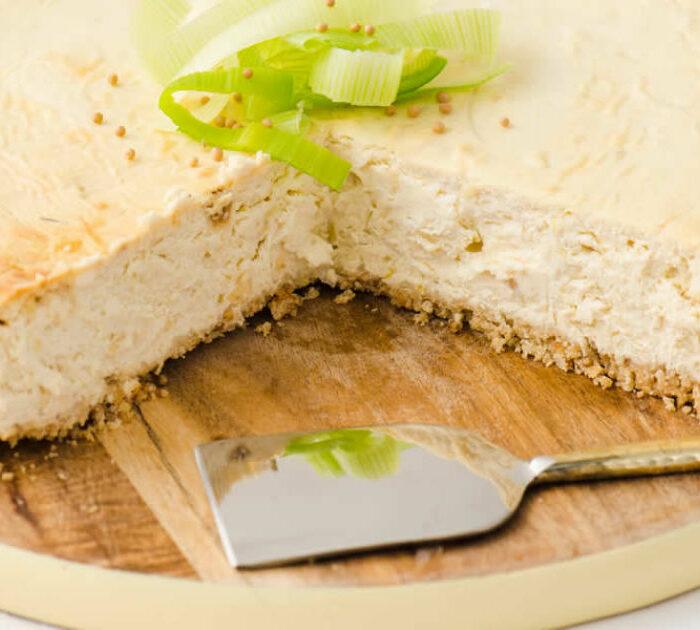 Mustard Leek Savory Cheesecake