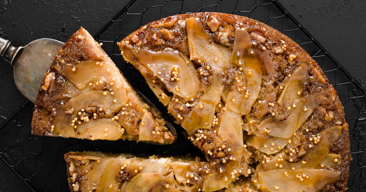 Maple Mustard Pear Upside Down Cake
