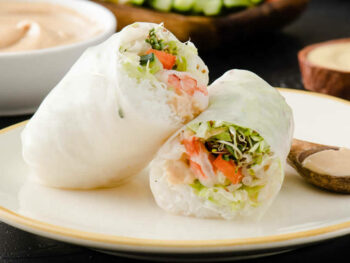 Zesty Summer Rolls with Peanut Mustard Dipping Sauce
