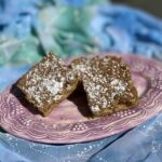 Mustard, Citrus, Pecan Blondies on a plate