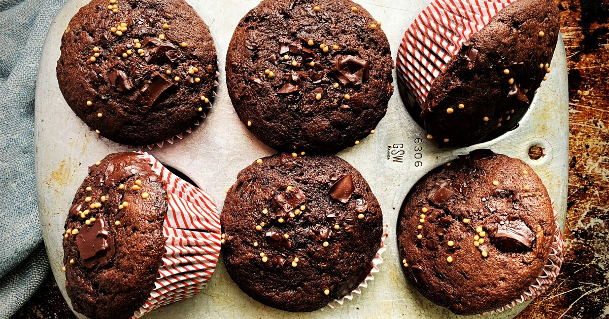 Double Chocolate Zucchini Muffins with Mustard Seed Crunch